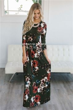 Olive Watercolor Floral Maxi Dress