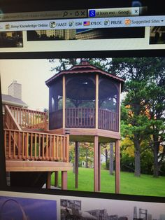 Two story deck with a screened in Gazebo!!! I am definitely doing this!
