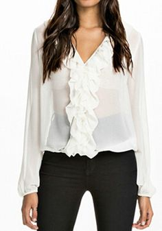 White Plain Ruffle V-neck Long Sleeve Chiffon Blouse