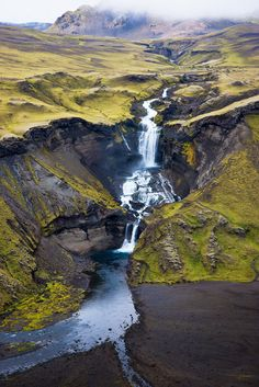 Ófærufoss, Iceland  ::     This is a waterfall in the river Ófæra that runs into the Eldgjá volcanic chasm. The Eldgjá chasm (crater in the shape of a canyon) was most likely created in an eruption in the year 934.