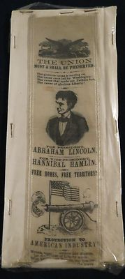 Outstanding 1860 Presidential Campaign Ribbon for Abraham Lincoln & Hannibal Hamlin. Maker unknown. Very rare.  *s*