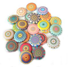 25 Kaleidoscope FLAT BACK Buttons.