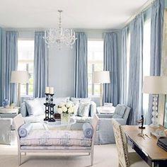 blue living room @ Home Design Ideas Blue Rooms, White Rooms, Blue Walls, Living Room Paint, Home Living Room, Living Room Decor, Blue And White Living Room, Room Paint Colors, Formal Living Rooms
