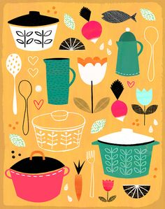 Colourful and graphic illustration for advertising, publishing, packaging, design and editorial. Kitchen Prints, Kitchen Art, Digital Illustration, Graphic Illustration, Pinterest Instagram, Food Drawing, Grafik Design, Food Illustrations, Jessie