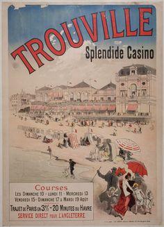 Trouville - Trouville - numelyo - bibliothèque numérique de Lyon Vintage Beach Posters, Vintage Ads, Art Deco Posters, Poster Prints, Jules Cheret, Honfleur, Tourism Poster, Railway Posters, Travel Cards