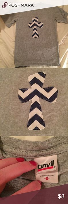 Chevron Cross T shirt Gray tee with navy & white  Chevron Cross. In great condition. Feel free to make an offer. Check out my other items for bundles Tops Tees - Long Sleeve