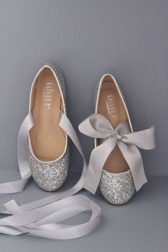 ba4772e928 SILVER ROCK GLITTER flats with satin tie - Women Silver Wedding Shoes - Bridal  Shoes, Bridesmaids Shoes, Party Shoes