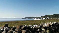 Stone wall and cottages. Rathlin Island #my own #S.Campbell