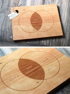Custom family name cutting board  - nice wedding present
