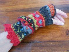 Fair Isle Fingerless Gloves in Baby Alpace Yarn by FunkyFernwood, $40.00