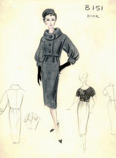 Коллекция эскизов из архива шикарного нью-йоркского универмага Bergdorf Goodman представляет модели дневных платьев и ансамблей от самых именитых дизайнеров,…