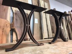 16 INCH TALL STEEL TIMBER BEAM COFFEE TABLE BASE SET Part