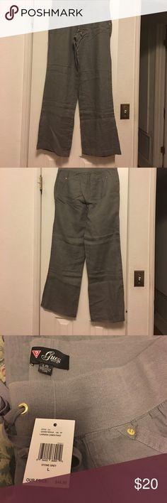 Guess Larissa linen pants size large Guess gray linen pants size large New with tags Guess Pants Straight Leg