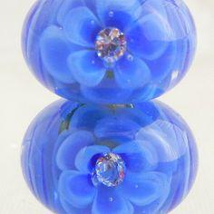 BOUSKY 2 Pair Cobalt Blue on Amber Lampwork Rose Beads by Bousky. $24.00 USD, via Etsy.
