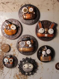 New magnets! Steampunk Robot style  by Janell Berryman