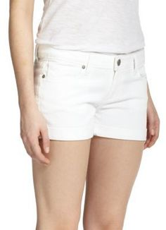 Essential achromatic shorts with a classic five-pocket style and cuffed hem to keep your look effortlessly casual. Belt loops. Zip fly with button closure. Five-pocket style. Rise, about 8'.Inseam, about 3'.Cotton/elastane. Machine wash. Made in USA. #Paige #Shorts #White