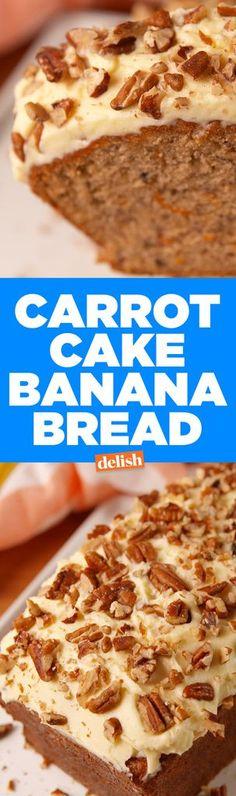 Carrot Cake Banana BreadDelish Banana Carrot Bread, Apple Bread, Best Carrot Cake, Banana Bread Recipes, Banana Cheesecake Bread, Cake Recipes, Dessert Recipes, Fruit Recipes, Sans Lactose