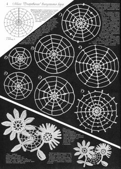 11 different spiderweb designs - might be really nice for irish crochet designs?