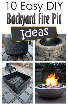10 Easy DIY Backyard Fire Pit Ideas #DIYFirePit #BackyardProjects