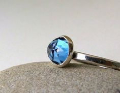 London Blue Topaz Silver Ring Solitaire Engagement by SilverSmack