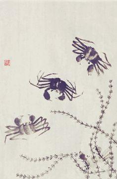 蟹行。Day Ink and Water by Yuan. Sumi E Painting, Chinese Painting, Calligraphy Drawing, Ink In Water, Chinese Brush, Underwater Creatures, China Art, Crabs, Under The Sea