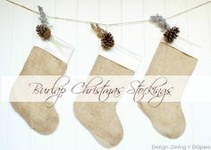 Burlap Christmas Stockings by Design, Dining + Diapers, DIY Christmas Stockings, burlap christmas decor