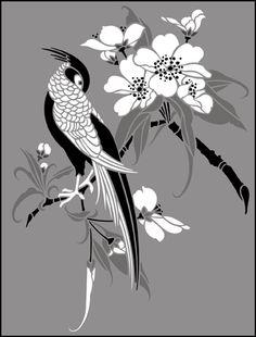 Animal and Bird Birds & Blossom No 5 stencils, stensils and stencles