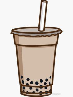 'Bubble Tea' Sticker by Heather Marshall Bubble Tea Shop, Bubble Milk Tea, Tea Wallpaper, Wallpaper Iphone Cute, Cute Food Drawings, Kawaii Drawings, Fille Gangsta, Vietnamese Dessert, Cute Art Styles