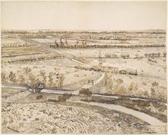 Vincent van Gogh | La Crau from Montmajour Brown ink drawing over black chalk Arles, France, 1888