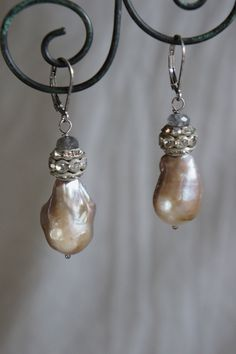 Vintage assemblage earrings baroque pearls by frenchfeatherdesigns