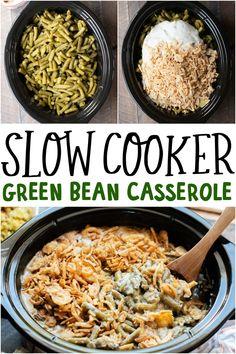Slow Cooker Green Bean Casserole Crockpot Veggies, Crockpot Side Dishes, Crock Pot Cooking, Side Dish Recipes, Dishes Recipes, Slow Cooker Recipes, Crockpot Recipes, Cooking Recipes