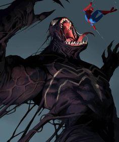 Venom and Spiderman! - - -#illustration #sketch #art #painting...