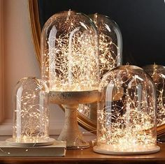 Create an ethereal, fanstasy look with LED Fairy lights. Use at the bottom of a vase in a floral arrangement, twist through your holiday mantle display to feature your stockings and holiday collectibles, put one under a glass dome to cre. Led Fairy Lights, Led String Lights, Tea Lights, Vase With Lights, Led Xmas Lights, Light String, Twinkle Lights, Luz Led Diy, Christmas Centerpieces