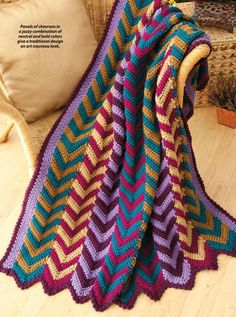 """Ravelry: Vibrant Chevron Panels Throw pattern by Katherine Eng. Ravelry: A Walk in the Woods """"A Walk in the Woods"""" afghan pattern by Christine Grazioso Moody. Published in Crochet World Magazine, February 2013 Could convert to HP colors! Crochet Ripple, Crochet Afgans, Manta Crochet, Filet Crochet, Double Crochet, Knit Crochet, Crochet World, Crochet Crafts, Crochet Projects"""