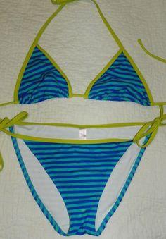 c4f4d86dd5 Victoria s Secret 2 Piece String Bikini Size M Blue Green Striped