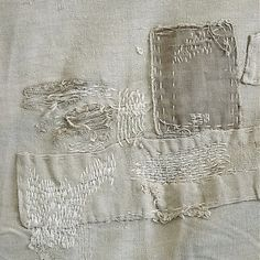 Linen MENDERS Vintage White Antique Cream and White Farmhouse Romantic Prairie Farm Style