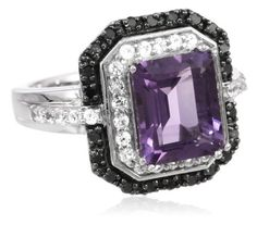 Jewelry: Sterling Silver Purple Amethyst Gemstone with Created White Sapphire and Black Diamond Ring: Rings Black Diamond Jewelry, Purple Jewelry, Amethyst Gemstone, Purple Amethyst, Traditional Engagement Rings, Silver Wedding Rings, Black Rings, Anniversary Rings, White Sapphire