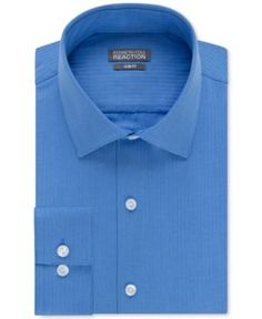 Kenneth Cole Reaction Slim-Fit Dry-Tek Performance Tonal Stripe Dress Shirt - Blue 1