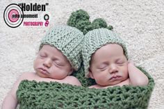 Crochet Two Peas in a Pod Crochet Twin Photo Prop Green Cocoon and Hats