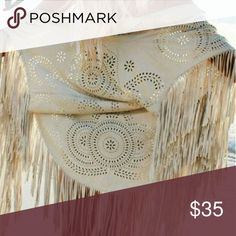 ❗️Only 2 Left! 🎉HP!🎉 Cutout Shawl Faux suede - feels incredibly soft! Cream color Hollow cut out floral design Fringe accents  Asymmetic shawl Kimono sweater blouse wrap  PRICE FIRM | NO TRADES PLEASE    Tags: boho gypsy soul beach wear free flowy tassel sexy girly wrap beautiful laser cut out Summer Style Fashion Design bikini cover up coverup flower floral cream tan beige earth colors people versatile Sweaters Shrugs & Ponchos
