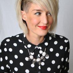 Half shaved hair, Butchers Salon, blonde, polka dot shirt, red lipstick, Helen S Stanley, www.helens-wardrobe.com