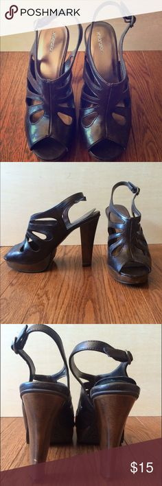 Xhileration Brown Leather Cutout Heels These have a little wear and tear on them, but are overall in good condition. Slight nicks on the leather and heels, and the interior padding on the right shoe is slightly lifted. Super comfy and have a non-slip rubber sole. Xhilaration Shoes Heels