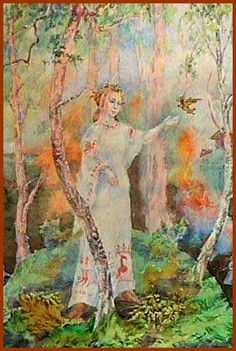 Lada, Slavic Goddess of the Spring, is associated with love and fertility in both humans and animals. She is said to return from the underworld every year at the Vernal Equinox, bringing the spring with her.