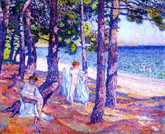 Bathers under the Pines, at Cavalliere (also known as Baigneuses sous les pins, a Cavalliere)  Theo van Rysselberghe