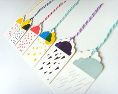 The Cloud Range of letterpress gift tags by The Little Paper House Press.