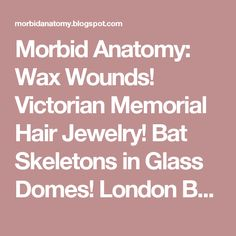 Morbid Anatomy: Wax Wounds! Victorian Memorial Hair Jewelry! Bat Skeletons in Glass Domes! London Based Workshops in Arcane and Anatomical Arts at London's Last Tuesday Society Beginning This Sunday, June 2