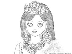 プリンセス、ジェニーの下絵~ジェニーのぬりえ