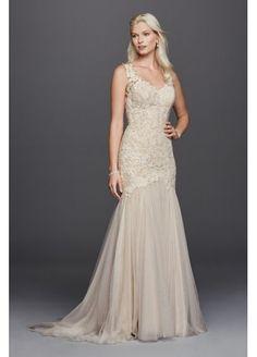 Petite Beaded Venice Scalloped Lace Wedding Dress 7SWG723