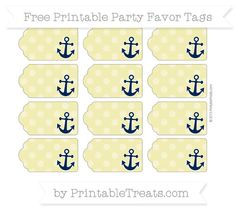Free Straw Yellow Dotted Pattern Nautical Party Favor Tags