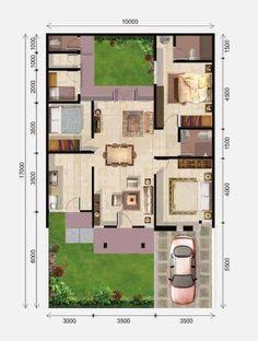 new ideas for apartment facade design small 3d House Plans, Model House Plan, House Blueprints, Dream House Plans, Small House Plans, Dream Home Design, Home Design Plans, Plan Design, House Design